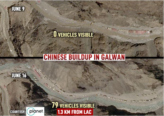 ভারত সীমান্তের দিকে এগিয়ে আসছে চীনের শত শত সামরিক ট্রাক