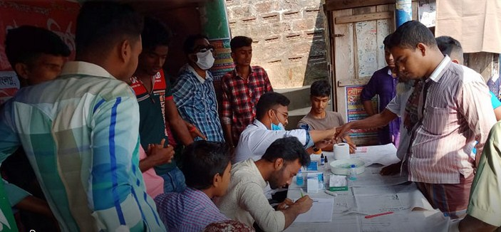 কালিগঞ্জে বিনামূল্যে রক্তের গ্রুপ নির্ণয়